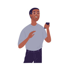 Laughing casual black skin guy reading funny vector