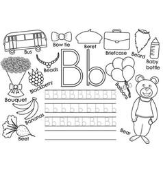 Letter b english alphabet writing practice vector