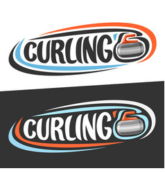 Logos for curling sport vector