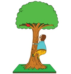 Man climbing apple tree vector