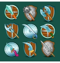 Medieval Weapon And Shields Set vector