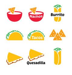 Mexican food icon set - tacos nachos vector