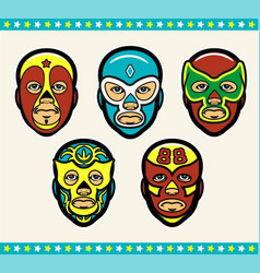 Mexican lucha libre wrestling masks vector