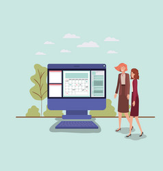 mini people working in computer desktop vector image