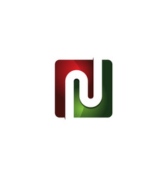n 3d colorful square letter logo icon design vector image