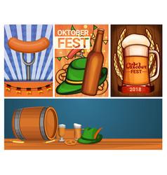 oktoberfest banner set cartoon style vector image