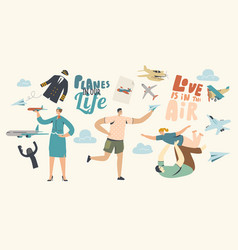 planes in our life concept adult man playing vector image