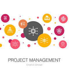 Project management trendy circle template with vector