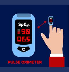 Pulse oximeter on index finger blood vector