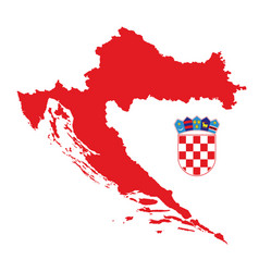 red croatia map with coat arms vector image