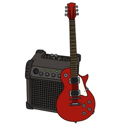 Red electric guitar and the combo vector