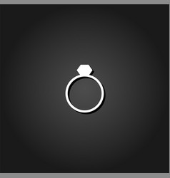 Ring icon flat vector