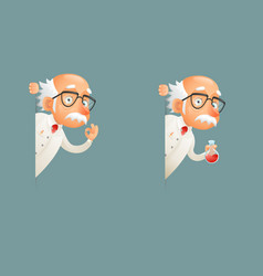 scientist old wise character look out corner icons vector image