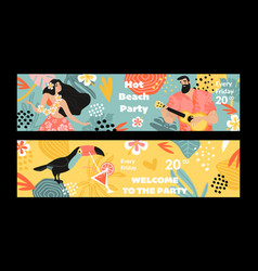Set banners for a summer beach party vector