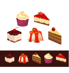 Set icons dessert dishes vector