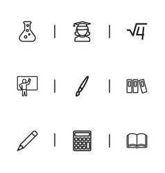 Set of 9 editable teach outline icons includes vector