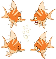 set of cartoon cute deep-water vector image