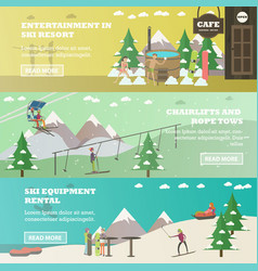 Set of winter fun horizontal banners in vector