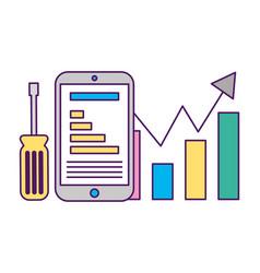 smartphone statistics diagram tool support vector image