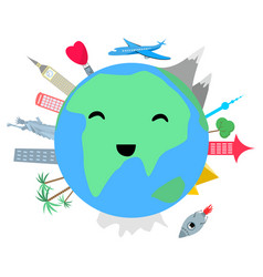 Smiling planet earth on white background vector