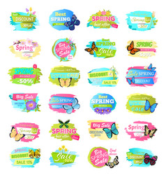 Spring collection of banners vector