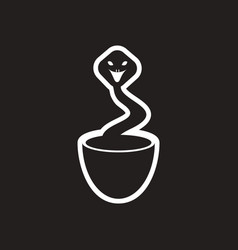 Stylish black and white icon indian cobra vector