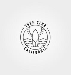 surf club line icon logo symbol design surfboard vector image