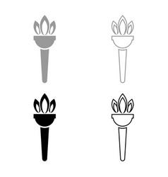 torch flambeau icon set grey black color vector image