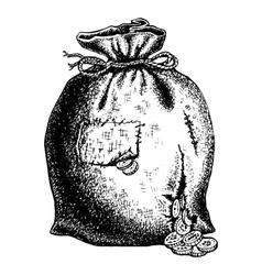 Torn bag coins vector