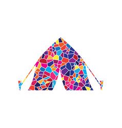 tourist tent sign stained glass icon on vector image