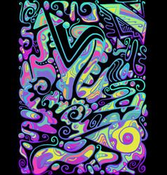 Vivid creative psychedelic colorful surreal doodle vector