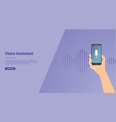 voice assistant technology with hand and vector image
