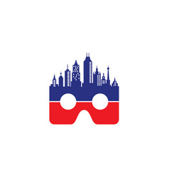 Vr logo with skyscrapers vector