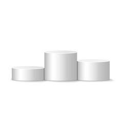 White winners podium round realistic pedestal vector