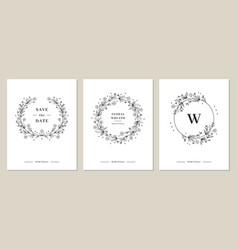 wildflower wreaths card set hand-drawn wildflower vector image
