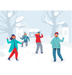 Winter characters playing snowballs joyfull people vector