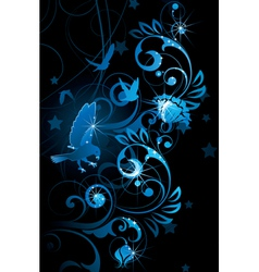 blue birds and vines vector image