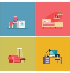 Interior Design Rooms Set vector image