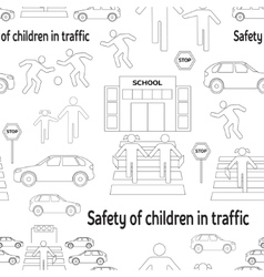 Safety of children in traffic pattern vector image
