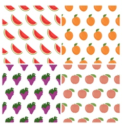 seamless pattern set with fruits Watermelon grape vector image vector image