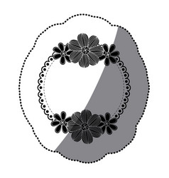 sticker silhouette decorative ornament with vector image