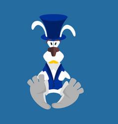 white rabbit in hat hare in blue vest alice in vector image vector image