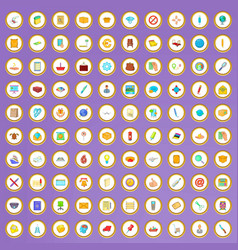 100 post and mail icons set in cartoon style vector image vector image