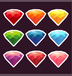a set of stickers with gems vector image