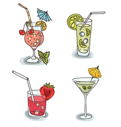 Different cocktails with fruit vector image