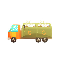 garbage truck full of waste recycling of garbage vector image vector image
