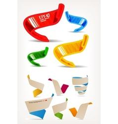 Mega set of colorful origami and handmade ribbons vector image vector image