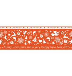 Seamless red Christmas border ornaments vector image vector image