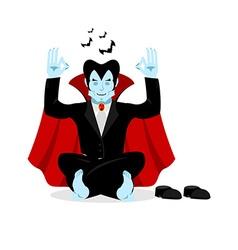 Vampire yoga Dracula meditates on white background vector image