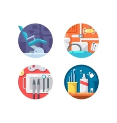 Dental clinic icons set vector image